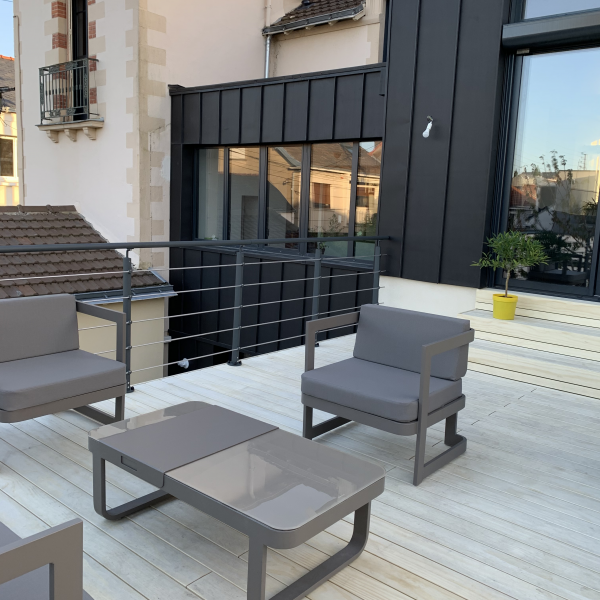 Terrasse en bois Acoya Naturel & Garde-corps Inoline Black